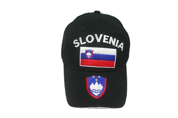 SLOVENIA BLACK COUNTRY FLAG EMBOSSED HAT CAP .. NEW