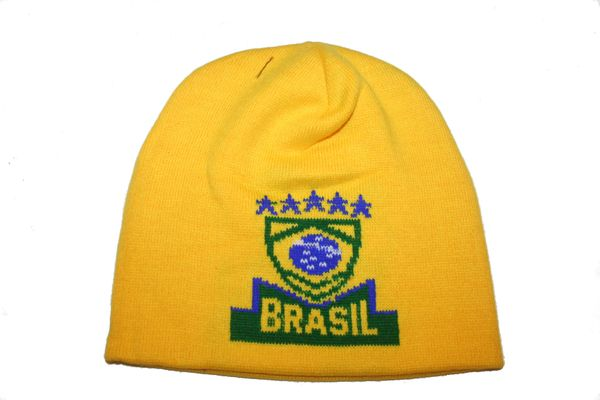 BRASIL YELLOW , 5 STARS , COUNTRY FLAG BLUE TOQUE HAT .. NEW