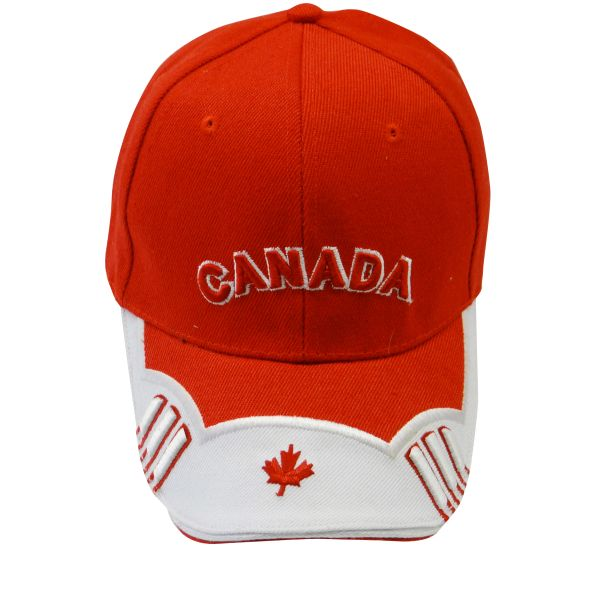 "CANADA WHITE RED WITH WORD ""CANADA"" & MAPLE LEAF ON BRIM EMBOSSED HAT CAP .. NEW"