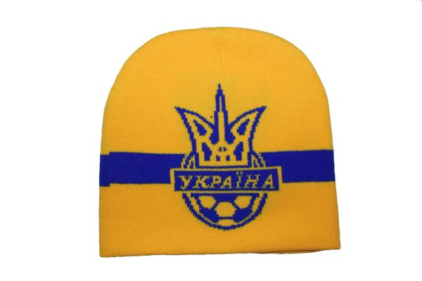 UKRAINE YELLOW COUNTRY FLAG WITH TRIDENT TOQUE HAT .. NEW