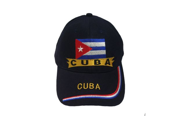 CUBA BLACK COUNTRY FLAG EMBROIDERED HAT CAP .. NEW