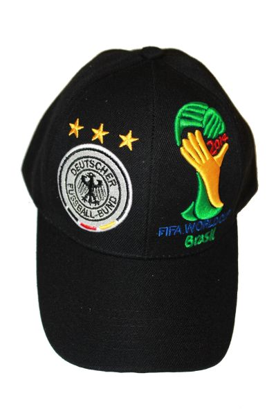 GERMANY BLACK , 3 STARS , FIFA SOCCER WORLD CUP EMBOSSED HAT CAP .. NEW
