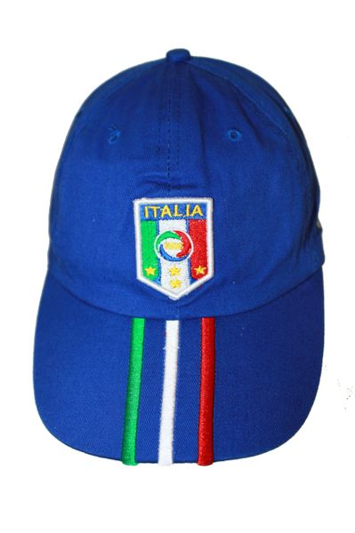 ITALIA ITALY BLUE FIGC LOGO FIFA SOCCER WORLD CUP EMBOSSED HAT CAP .. NEW