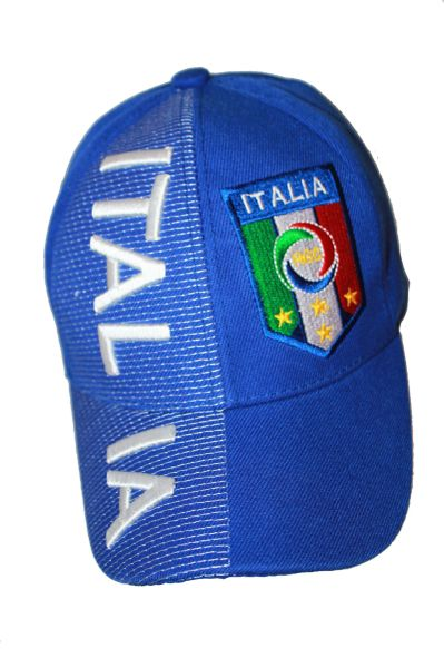 ITALIA ITALY BLUE , 4 STARS , FIGC LOGO FIFA SOCCER WORLD CUP EMBOSSED HAT CAP .. NEW