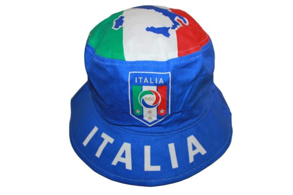 ITALIA ITALY BLUE FIGC LOGO FIFA SOCCER WORLD CUP BUCKET HAT CAP .. NEW