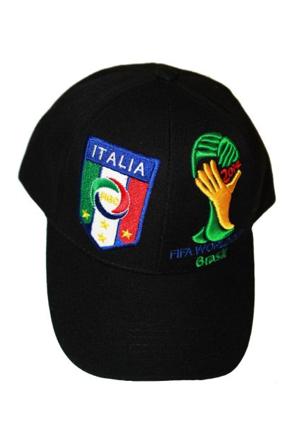 ITALIA ITALY BLACK , 4 STARS , FIGC LOGO FIFA SOCCER WORLD CUP EMBOSSED HAT CAP .. NEW