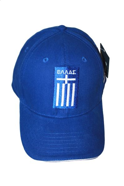 GREECE HELLAS BLUE COUNTRY FLAG EMBOSSED HAT CAP .. NEW