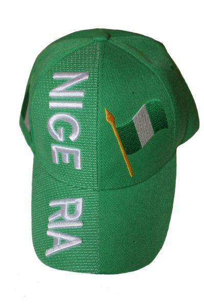 NIGERIA GREEN COUNTRY FLAG EMBOSSED HAT CAP .. NEW