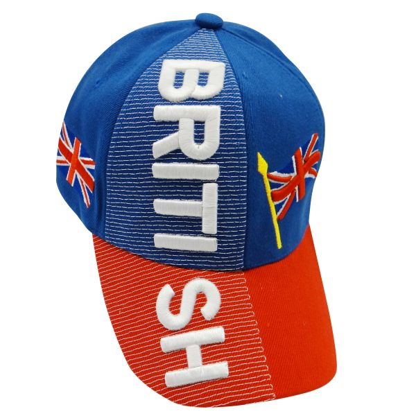 BRITISH BLUE RED COUNTRY FLAG EMBOSSED HAT CAP .. NEW