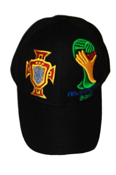 PORTUGAL BLACK - FPF LOGO FIFA SOCCER WORLD CUP EMBOSSED HAT CAP .. NEW