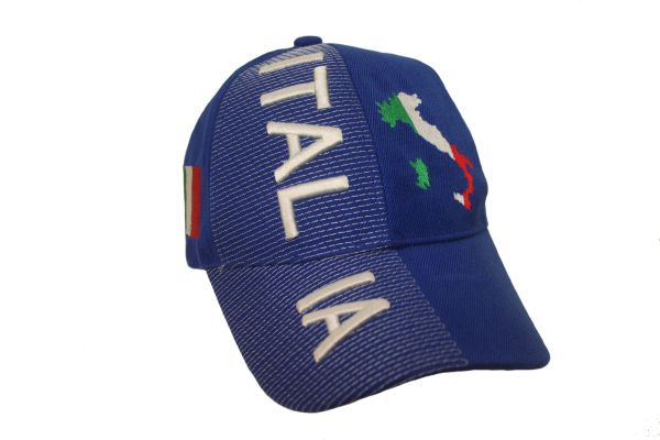 ITALIA ITALY BLUE COUNTRY SHAPE FLAG EMBOSSED HAT CAP .. NEW