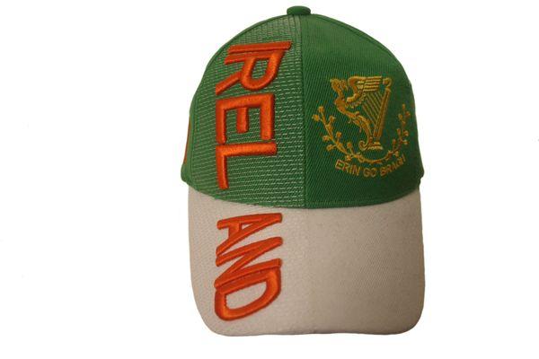 "IRELAND GREEN WHITE COUNTRY FLAG ""ERIN GO BRAGH"" EMBOSSED HAT CAP .. NEW"