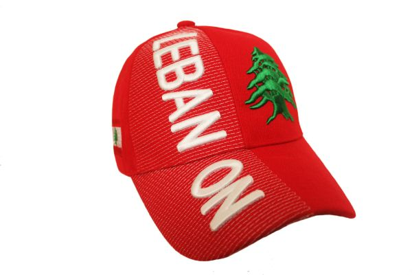 LEBANON RED COUNTRY FLAG EMBOSSED HAT CAP .. NEW