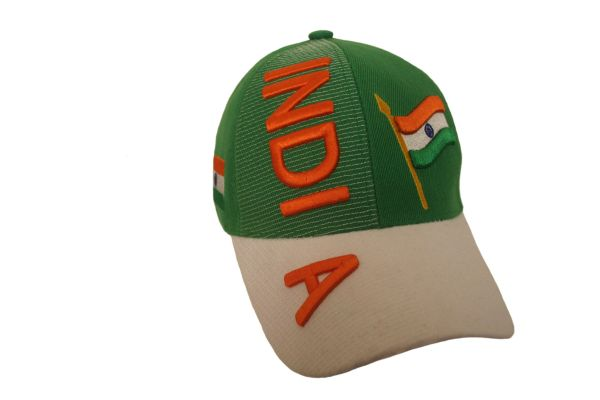 INDIA GREEN WHITE COUNTRY FLAG EMBOSSED HAT CAP .. NEW