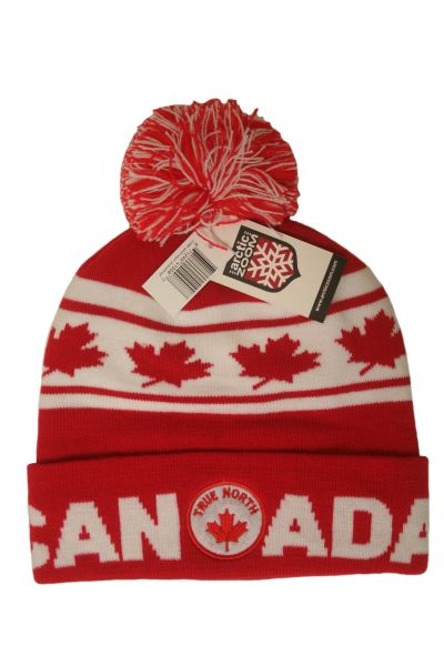 TRUE NORTH ADULT JACQUARD LEAF CANADA WINTER HAT WITH POM POM .. NEW