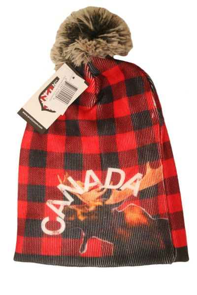 CANADA MOOSE ADULT SLOUCH MOOSE PLAID WINTER TOQUE HAT WITH POM POM .. NEW