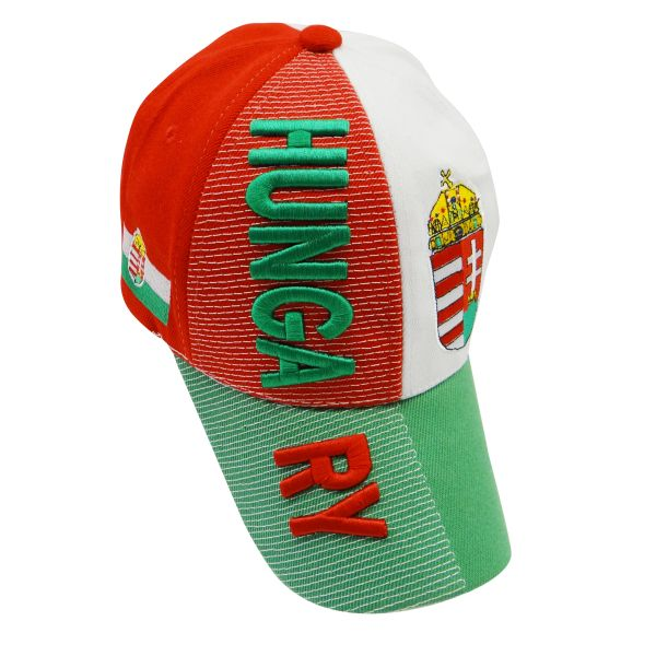 HUNGARY WHITE RED GREEN COUNTRY FLAG EMBOSSED HAT CAP .. NEW