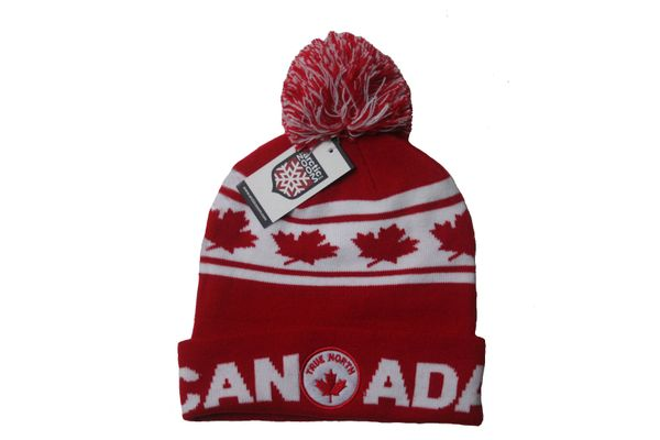 CANADA ADULT TOQUE - TRUE NORTH JACQUARD CANADA WINTER HAT WITH POM POM .. NEW