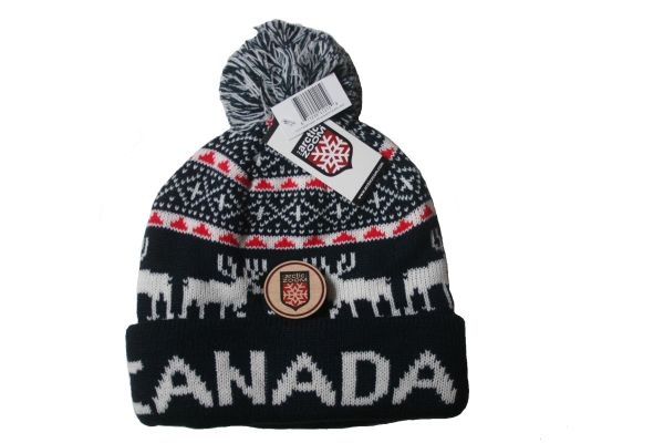 CANADA WITH WHITE ORNAMENTS & SNOWFLAKES DARKBLUE TOQUE HAT WITH POM POM ..ARCTIC ZOOM