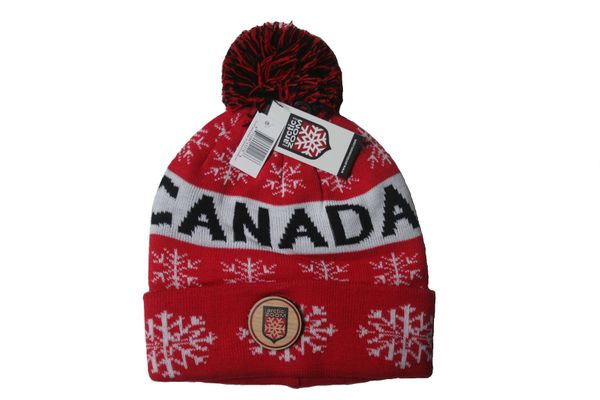 CANADA WITH WHITE SNOWFLAKES RED TOQUE HAT WITH POM POM ..ARCTIC ZOOM