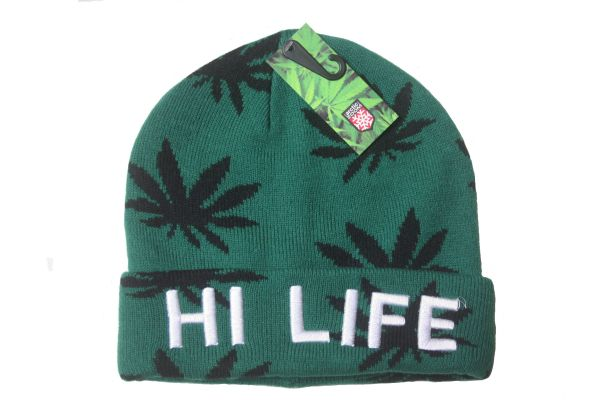 MARIJUANA LEAVES HI LIFE GREEN TOQUE HAT