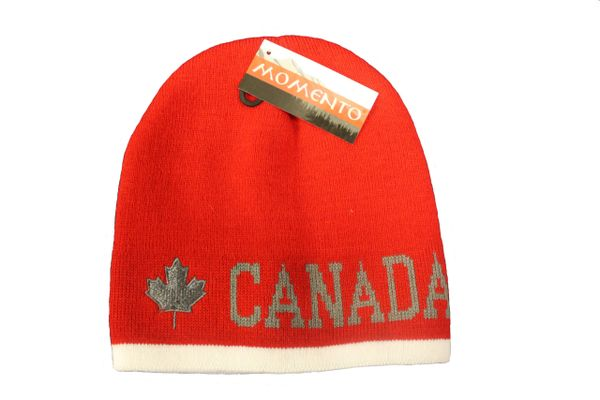 CANADA MAPLE LEAF RED WITH WHITE STRIPE TOQUE HAT..FOR ADULTS..NEW
