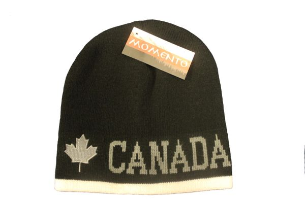CANADA MAPLE LEAF BLACK WITH WHITE STRIPE TOQUE HAT..FOR ADULTS..NEW