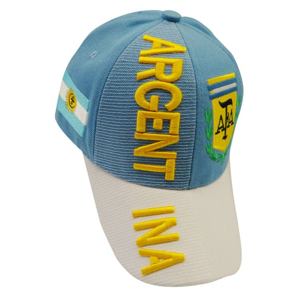 ARGENTINA BLUE WHITE COUNTRY FLAG , AFA LOGO FIFA SOCCER WORLD CUP EMBOSSES HAT CAP.. NEW