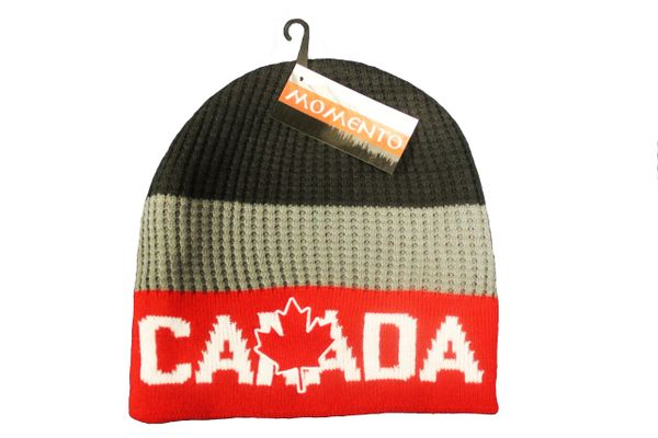 CANADA MAPLE LEAF RED GREY BLACK TOQUE HAT..FOR ADULTS..NEW