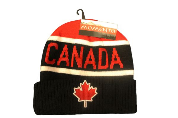 CANADA MAPLE LEAF BLACK RED WITH WHITE STRIPES TOQUE HAT..FOR ADULTS..NEW