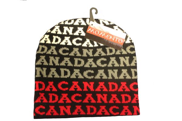 CANADA MAPLE LEAF BLACK WITH WORD TOQUE HAT..FOR ADULTS..NEW