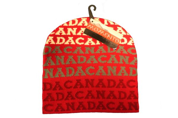 CANADA MAPLE LEAF RED WITH WORD TOQUE HAT..FOR ADULTS..NEW
