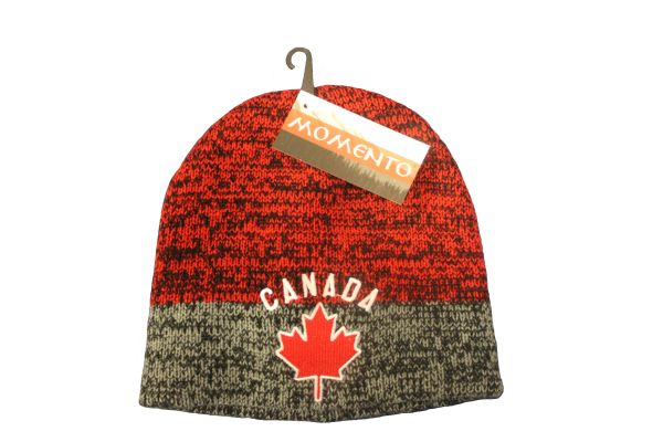 CANADA MAPLE LEAF GREY RED TOQUE HAT..FOR KIDS..NEW