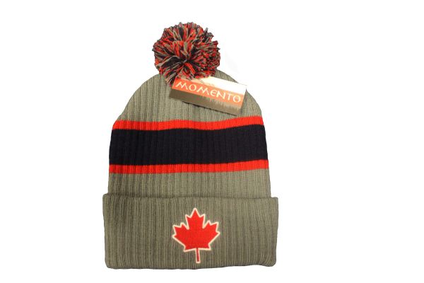 CANADA MAPLE LEAF GREY BLUE WITH STRIPES TOQUE HAT WITH POM POM..FOR KIDS..NEW