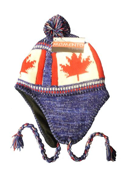 CANADA COUNTRY FLAG BLUE CHULLO TOQUE HAT WITH POM POM..FOR KIDS..NEW
