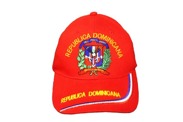 REPUBLICA DOMINICANA COUNTRY FLAG EMBROIDERED RED HAT HAT CAP .. NEW