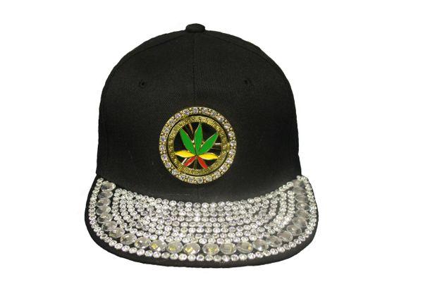 MARIJUANA LEAF STUDDED BLACK HIP HOP RHINESTONE HAT CAP