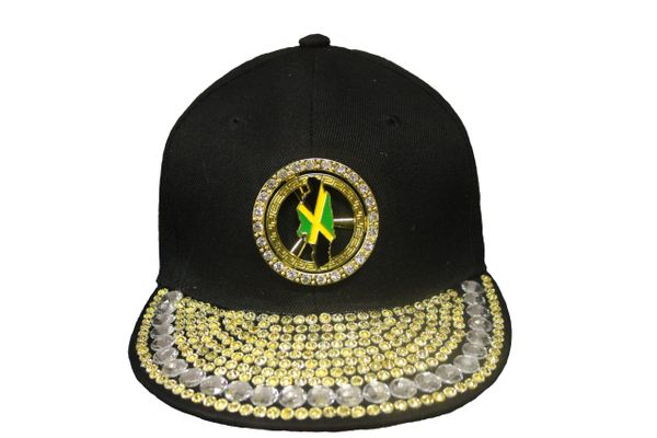 JAMAICA COUNTRY FLAG STUDDED BLACK HIP HOP RHINESTONE HAT CAP