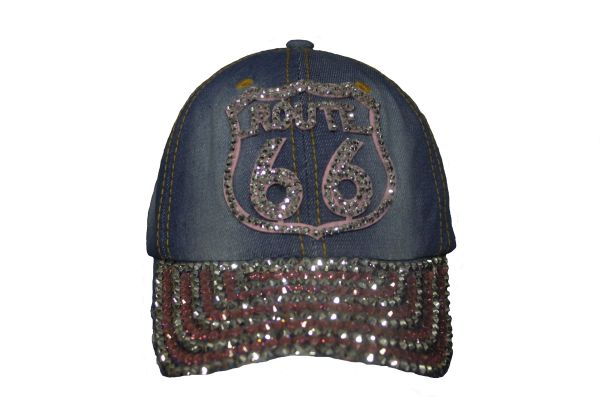 ROUTE 66 DENIM RHINESTONE STUDDED HAT CAP