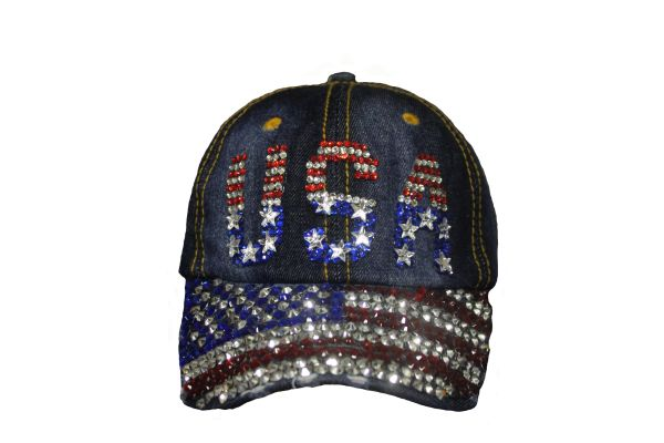 USA COUNTRY FLAG DENIM RHINESTONE STUDDED HAT CAP