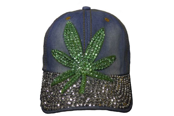 MARIJUANA LEAF DENIM RHINESTONE STUDDED HAT CAP .. NEW