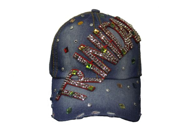 TRINIDAD DENIM RHINESTONE STUDDED HAT CAP .. NEW