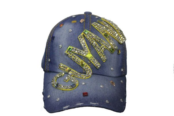 GUYANA DENIM RHINESTONE STUDDED HAT CAP .. NEW