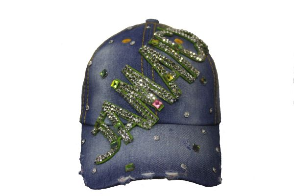JAMAICA DENIM RHINESTONE STUDDED HAT CAP .. NEW