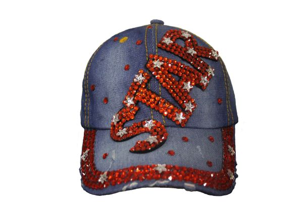 STAR DENIM RHINESTONE STUDDED HAT CAP .. NEW