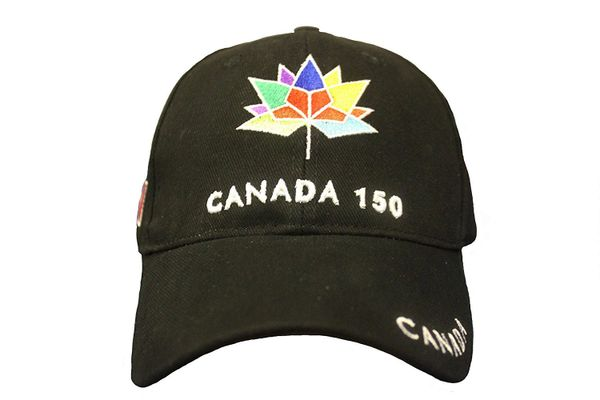 *** SOLD OUT *** CANADA 150 YEARS ANNIVERSARY COLORED LOGO EMBROIDERED BLACK HAT HAT CAP .. NEW
