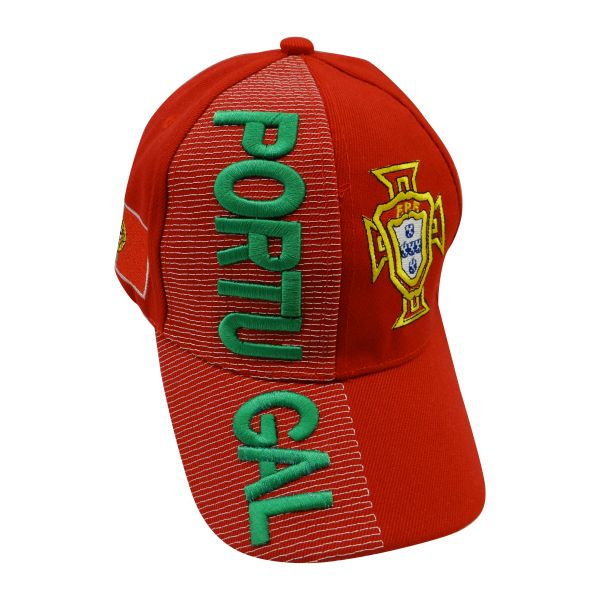 PORTUGAL RED COUNTRY FLAG FPF LOGO SOCCER WORLD CUP EMBOSSED HAT CAP .. NEW