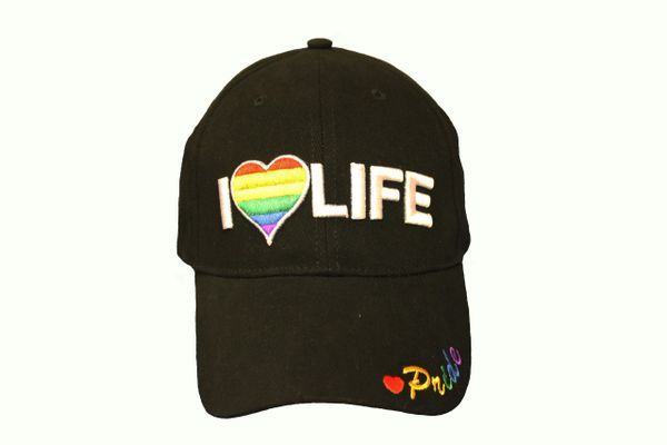 I LOVE LIFE GAY & LESBIAN RAINBOW PRIDE EMBROIDERED HAT CAP