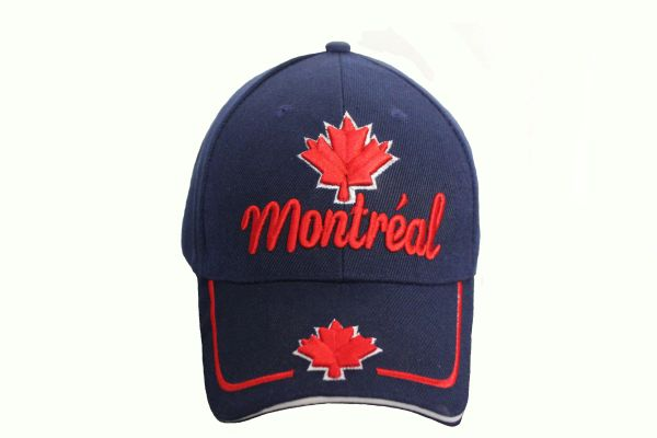 MONTREAL TITLE & MAPLE LEAF BLUE EMBROIDERED HAT CAP