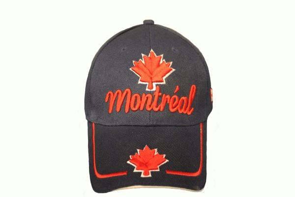 MONTREAL TITLE & MAPLE LEAF BLACK EMBROIDERED HAT CAP